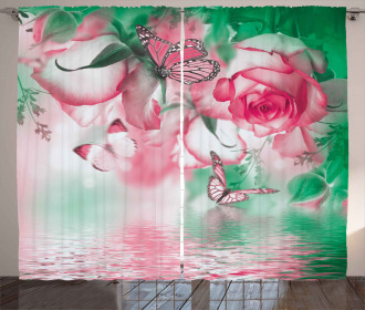 Rose Petals Butterfly Curtain