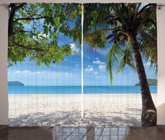 Tropical Beach Ocean Curtain