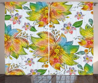Macro Flower Petals Art Curtain