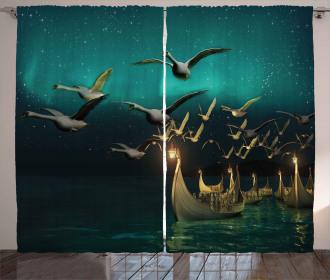 Elf Boats Birds Swans Curtain
