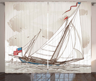 Antique American Yacht Curtain