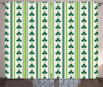 Irish Clovers Lines Dots Curtain