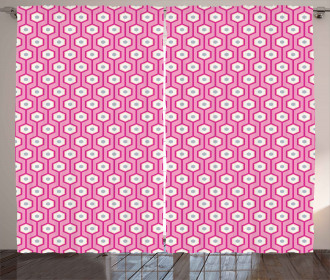 Vertical Hexagons Dots Curtain
