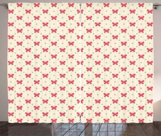 Cute Pink Retro Dots Curtain