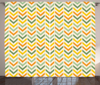 Retro Zigzags Vertical Curtain