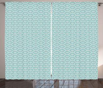 Curvy Lines Bubbles Sea Curtain