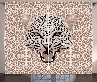 Roaring Wild Leopard Curtain