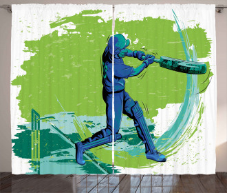 Cricket Player Pitching Curtain