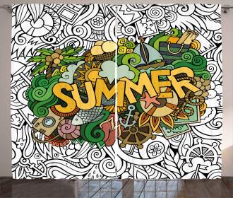 Summer Tropical Marine Curtain