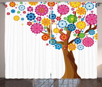 Tree Vibrant Blooms Curtain