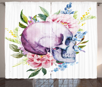 Abstract Skull Flowers Curtain