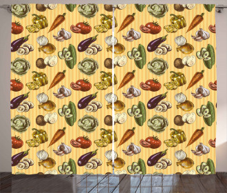 Sketchy Vegetables Curtain