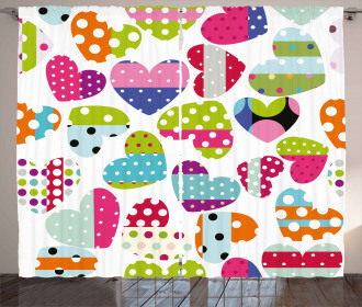 Heart Patches and Dots Curtain