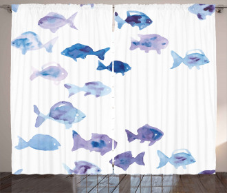 Watercolor Cute Fishes Curtain