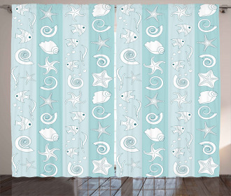 Sea Animals and Shells Curtain