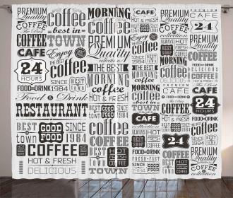 Retro Coffee Texts Curtain