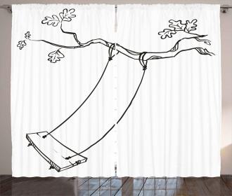 Sketchy Tree Swing Joy Curtain