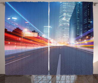 Asphalt Road Modern City Curtain
