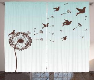 Dandelion Doves Bloom Curtain