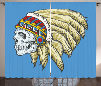 Skull with Feathers Folk Curtain
