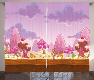 Cartoon Candy Land Curtain