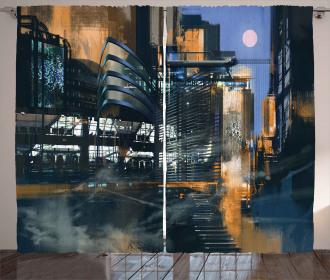 Cyberpunk Cityscape Curtain