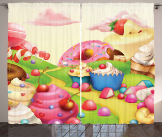 Yummy Donuts Sweet Land Curtain