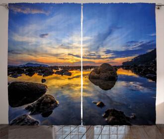 Twilight Rocky Shore Curtain