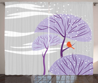 Purple Trees Snow Bird Curtain