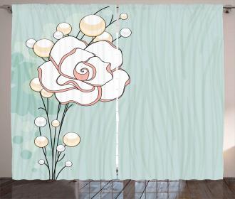 Romantic Rose Pearls Curtain
