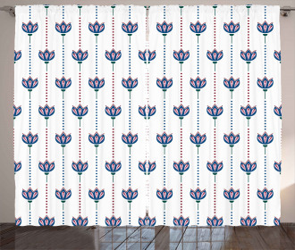 Ethnic Tulip Flowers Curtain