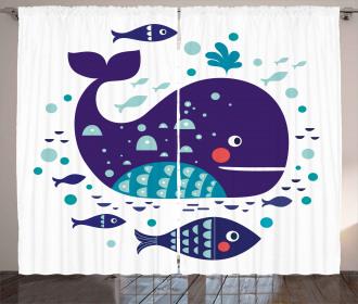 Ocean Cartoon Big Fish Curtain