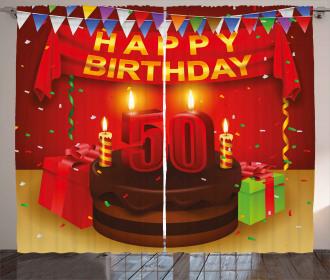 Celebration Curtain 50th Birthday Cake Print 2 Panel Window Drapes