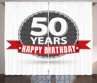 50th Birthday Retro Curtain