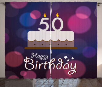 Cake Number Candles Curtain