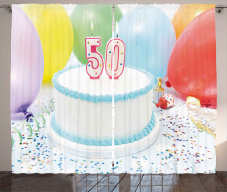 Age Fifty Cake Party Curtain