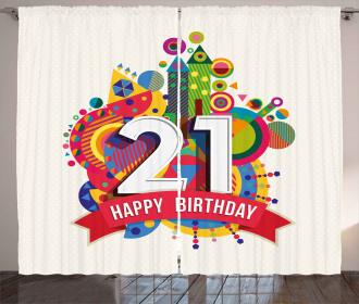 Happy Birthday Image Curtain