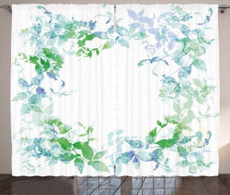 Spring Wreath Watercolor Curtain