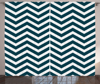 Zigzag Chevron Blue Lines Curtain