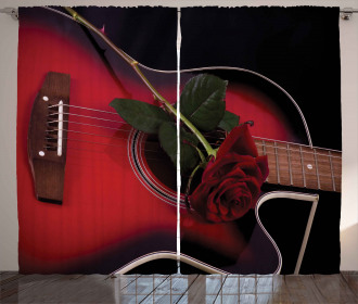 Guitar with Love Rose Curtain