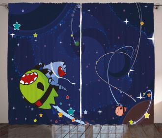 Cartoon Kitten Aliens Curtain