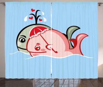 Cute Whale Couple Curtain