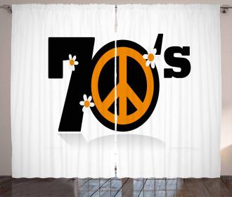 70s Peace Daisies Curtain