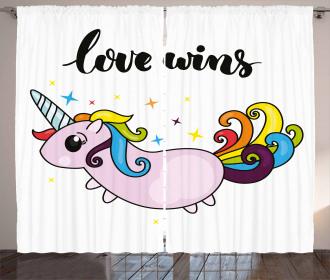LGBT Slogan Cute Tail Curtain