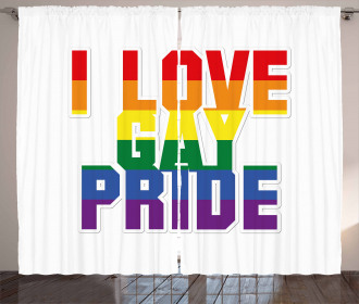 I Love Gay Pride Quote Curtain
