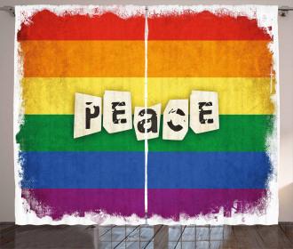Grunge Flag Peace Word Curtain