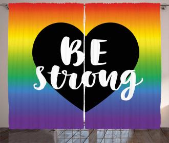 Be Strong Slogan Heart Curtain