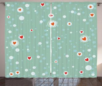 Sketch Circles and Hearts Curtain