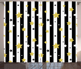 Vertical Lines Stars Curtain