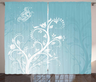 Swirly Tree and Butterfly Curtain